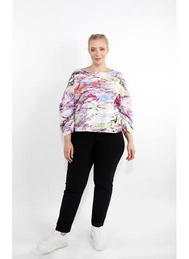 Luokk Waldo Kolu Büzgülü Kayık Yaka Rahat Kesim Kadın Bluz Baskılı Renkli